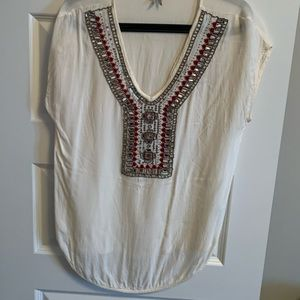 Long white blouse top with beaded design
